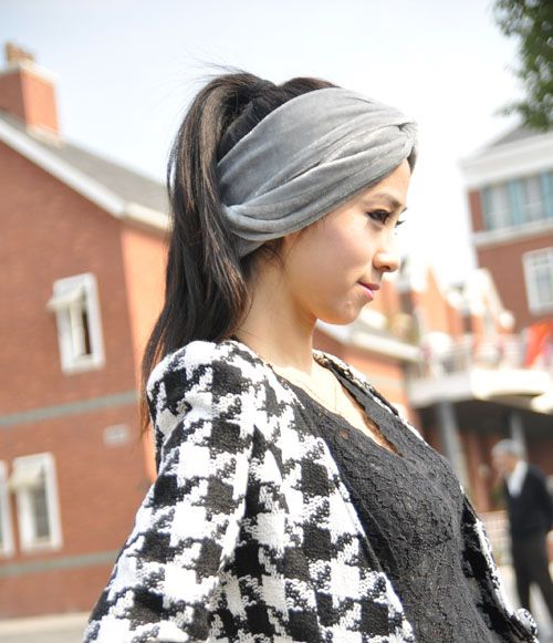 Hot Sale Pure Color Embellished Intersect Velvet Headband For Women