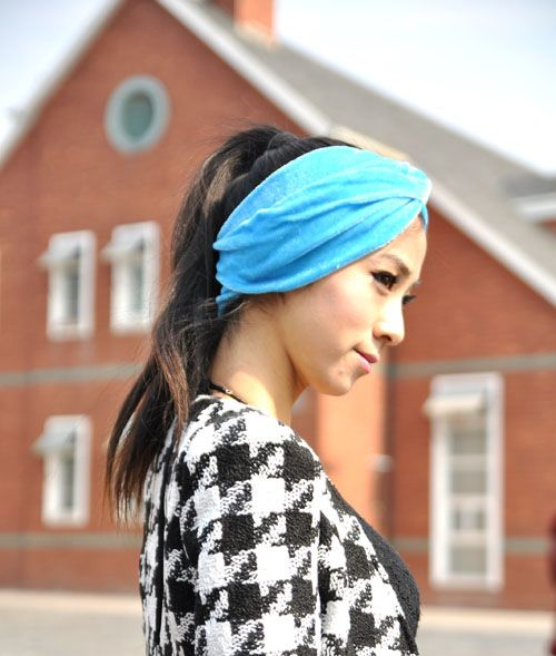 Hot Sale Pure Color Embellished Intersect Velvet Headband For Women