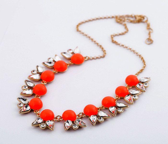 Alloy Beaded Faux Gemstone Embellished Pendant Necklace