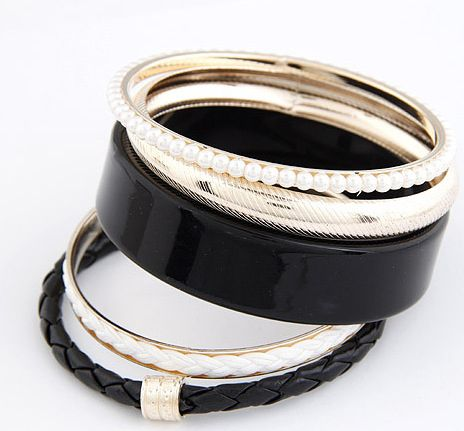 5PCS of Faux Pearl and Leather Design Bracelets
