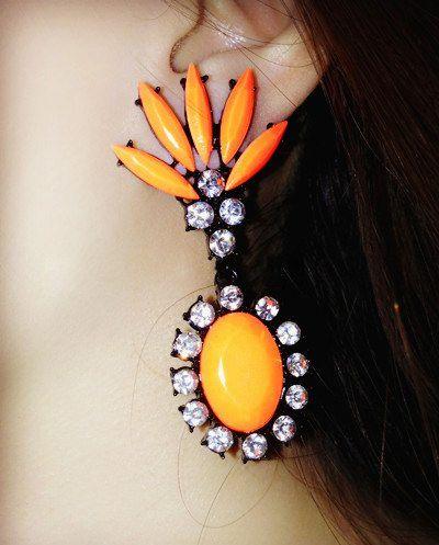 Pair of Oval Rinestone Embellished Drop Earrings