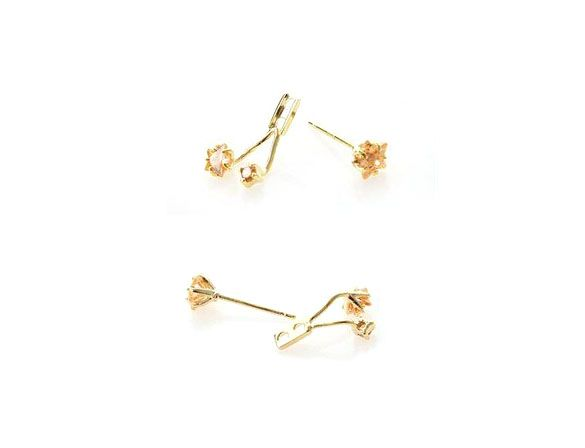 Pair of Alloy Rhinestoned Flowers Shape Drop Earrings