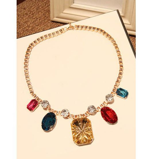 Geometric Alloy Faux Gemstone Embellished Pendant Necklace