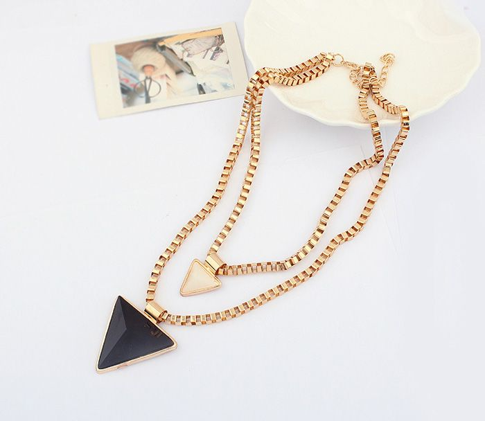 Triangle Pendant Alloy Multilayered Necklace