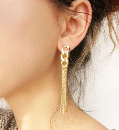 Pair of Alloy Chain Design Long Tassel Drop Earrings
