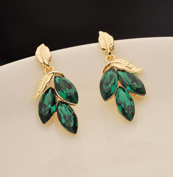 Pair of Faux Gem Embellished Leaf Shape Drop Earrings