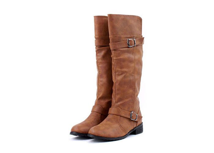 Elastic Band Slip On Mid Calf Boots