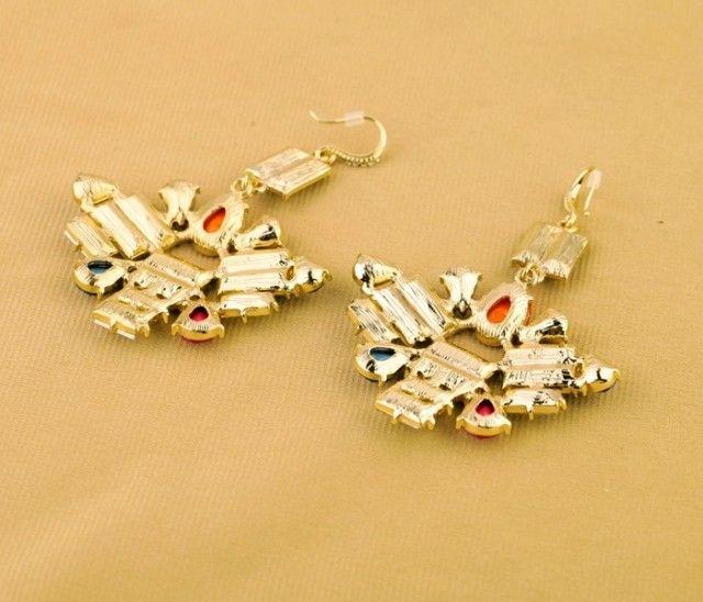 Pair of Alloy Faux Gemstoned Drop Earrings