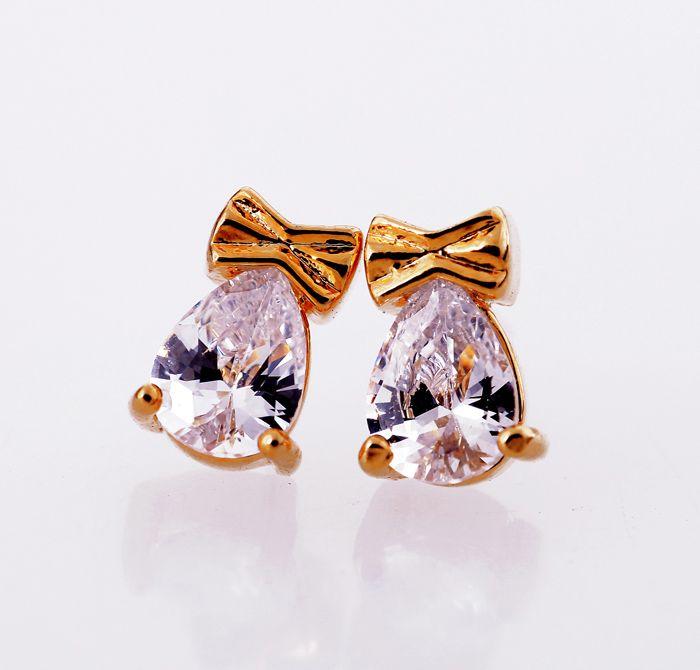 Pair of Faux Crystal Bowknot Waterdrop Stud Earrings