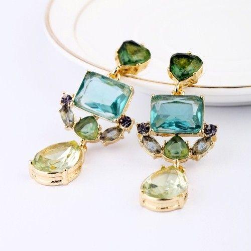 Pair of Faux Gemstone Embellished Drop Earrings