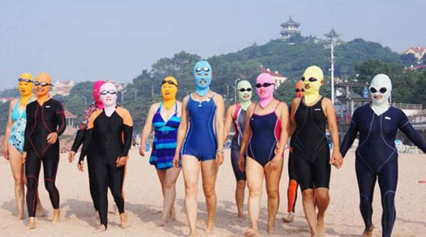 Wonderful Blue Hearts Pattern Anti UV Swimming Cap/Hat/Facekini Protective Mask Headgear