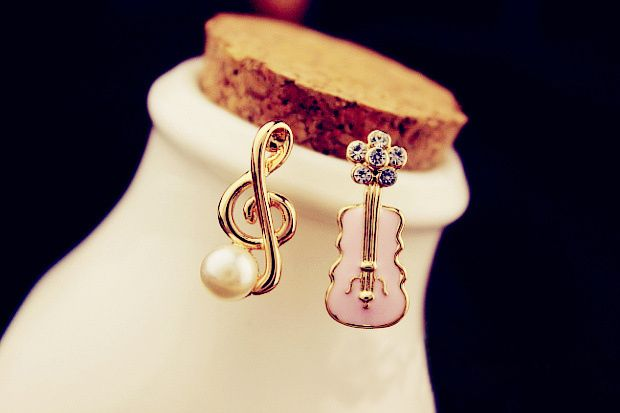 Musical Note and Guitar Shape Earrings
