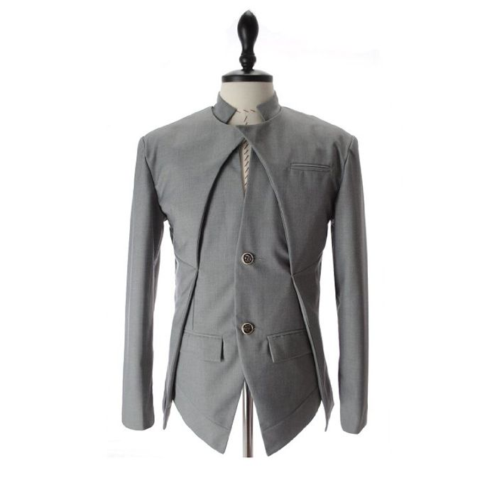 Korean Fashionable Style Asymmetric Design Slimming Two Button Blazer For Men