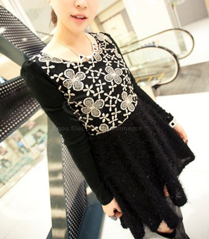 Ladylike Scoop Neck Embroid Floral Pattern Narrow Waist Long Puff Sleeves Women's Flared Dress