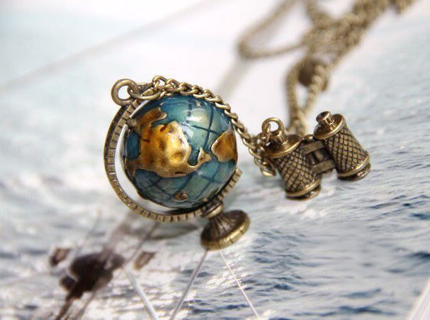 Stylish Color Glazed Tellurion Shape Pendant Decorated Sweater Chain Necklace For Women