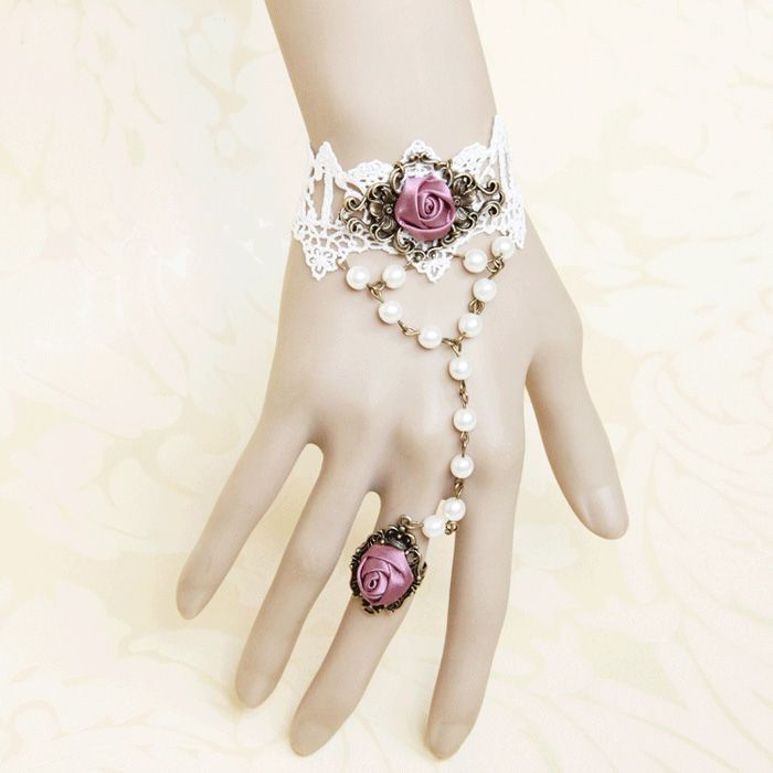 Vintage Ribbon Rose and Faux Pearl Design Lace Bracelet With Ring