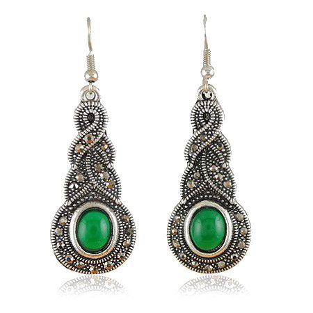 Oval Faux Jade Alloy Drop Earrings