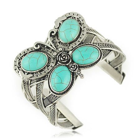 Bohemia Faux Turquoise Inlaid Butterfly Wide Bracelet