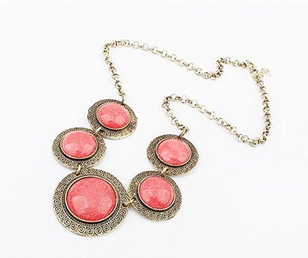 Vintage Faux Gem Embellished Round Shape Necklace