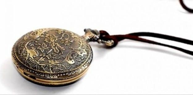 Vintage Figured Pocket Watch Pendant Sweater Chain Necklace