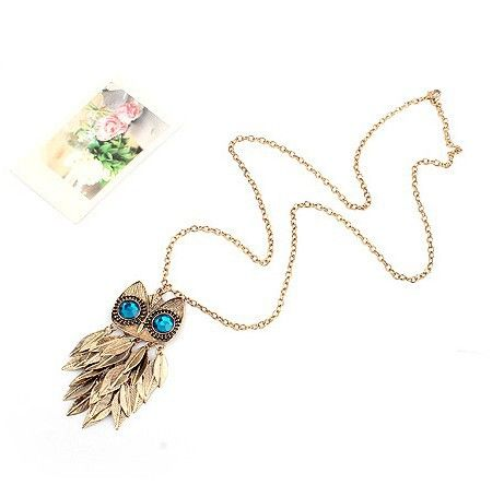 Fashion Leaf Tassels Embellished Rhinestoned Night Owl Shaped Pendant Sweater Chain Necklace For Women