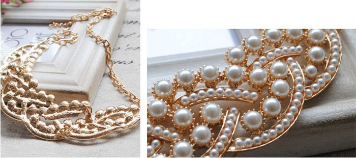 Faux Pearl Embellished Alloy Pendant Necklace