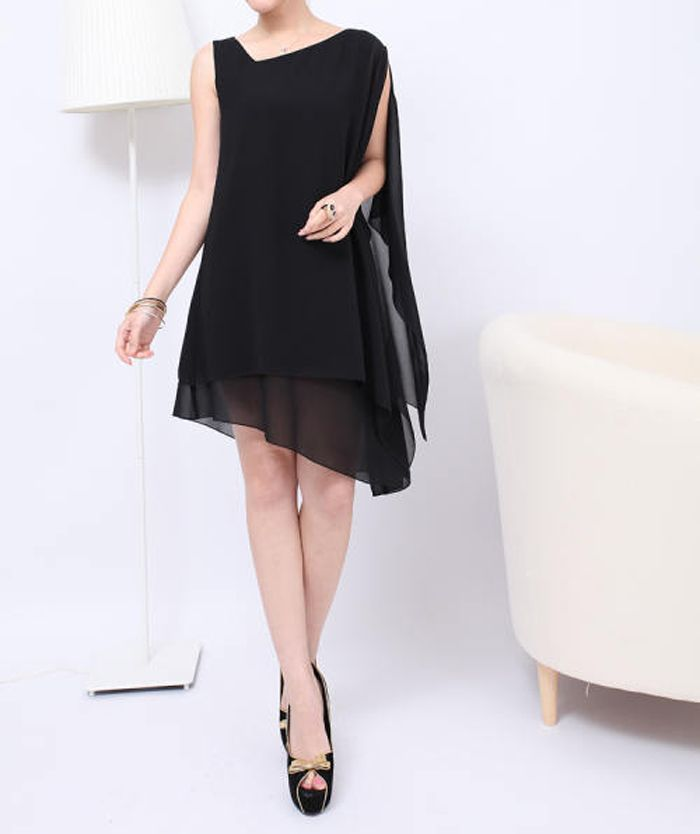 Graceful Sleeveless Solid Color Chiffon Women's Summer Dresses