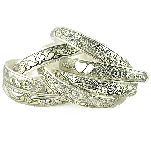 Retro Style Flower Vine Carving Design Alloy Bracele
