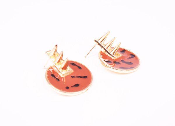 Pair of Round Rivet Embellished Alloy Stud Earrings