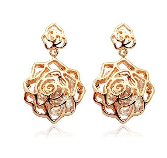 Rhinestone Openwork Flower Shape Drop Earrings