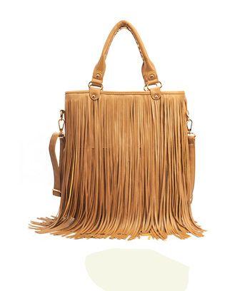 Vintage Style Solid Color and Tassels Design Women's Street Level Handbag