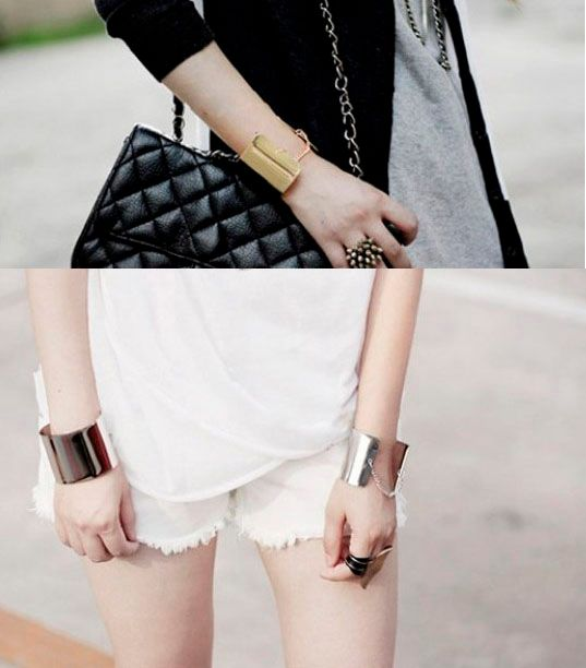 Golden Wide Chain Tassel Bracelet