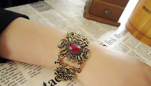 Faux Ruby Inlaid Filigree Flower Bracelet