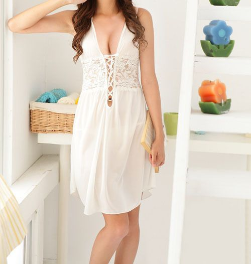 Lace-Up Solid Color Lace Splicing Sexy Style Women's Baby Dolls