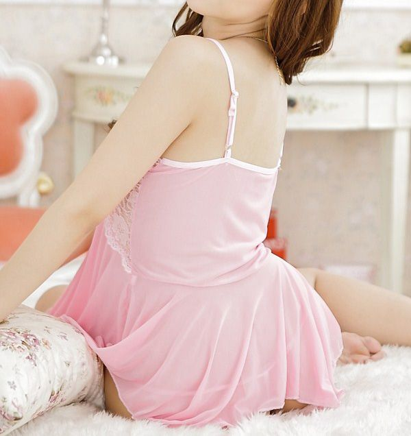 Sexy Low-Cut Solid Color Lace Splicing Voile Women's Babydolls