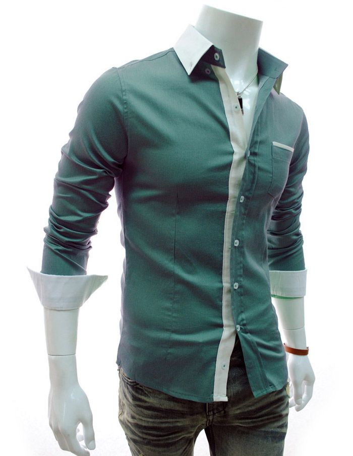 Fashion Style Color Block Shirt Collar Long Sleeves Men's Slimming Polyester Shirt