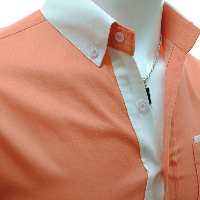 Fashion Style Color Block Shirt Collar Long Sleeves Men's Slimming Polyester Shirt