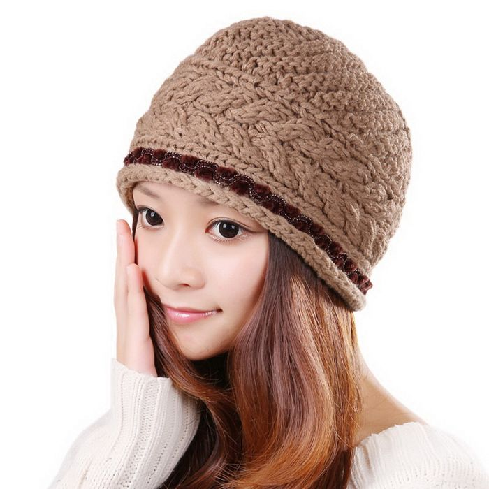 Fashionable Solid Color Fringed Knitted Trapper Hat For Women