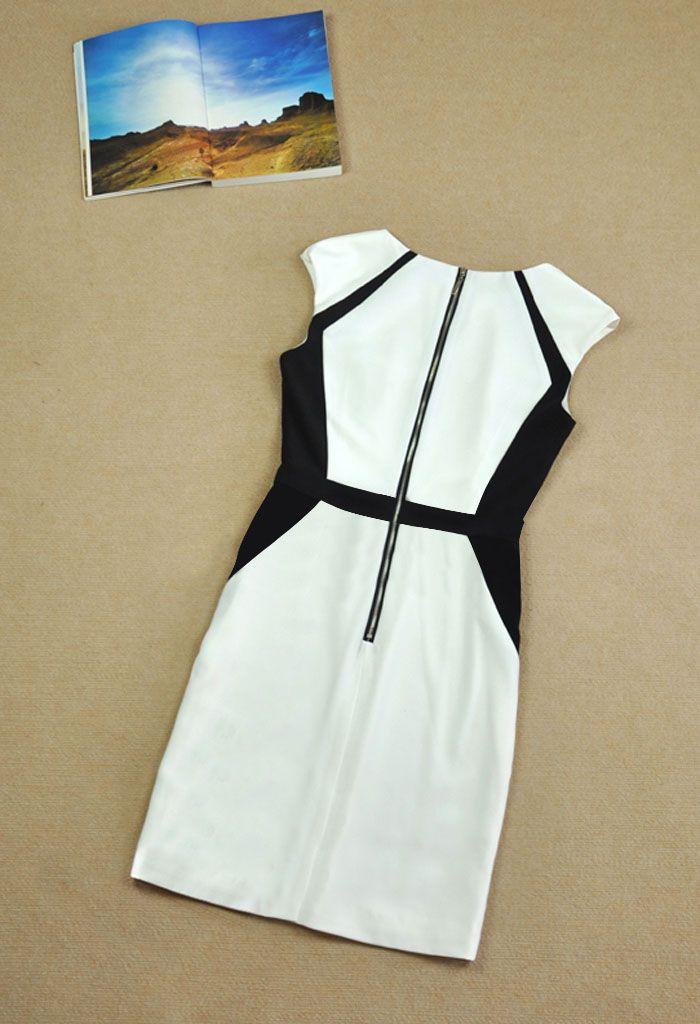 Color Block V-Neck Modern Style Sleeveless Polyester Women's Formal Dress
