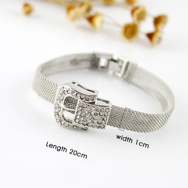 Rhinestoned Belt Shape Alloy Bracelet