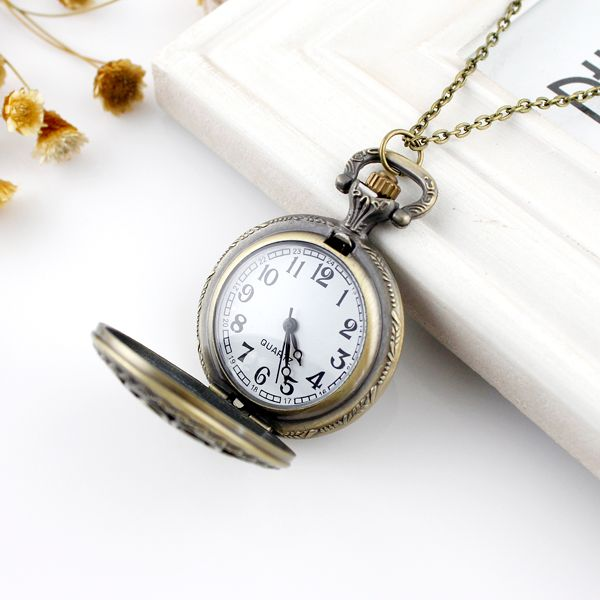 Filigree Flower Pocket Watch Pendant Necklace