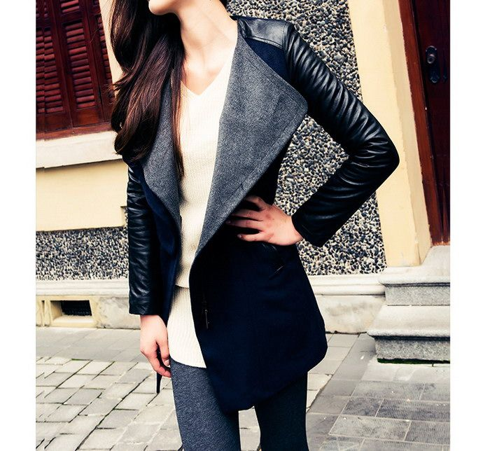 Lady Long Warm Leather Sleeve Jacket Coat Trench