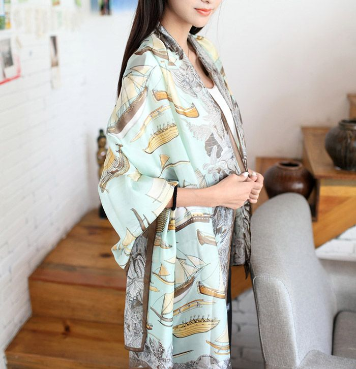 Sweet Hot Sale Sail Print Embellished Scarf For Women