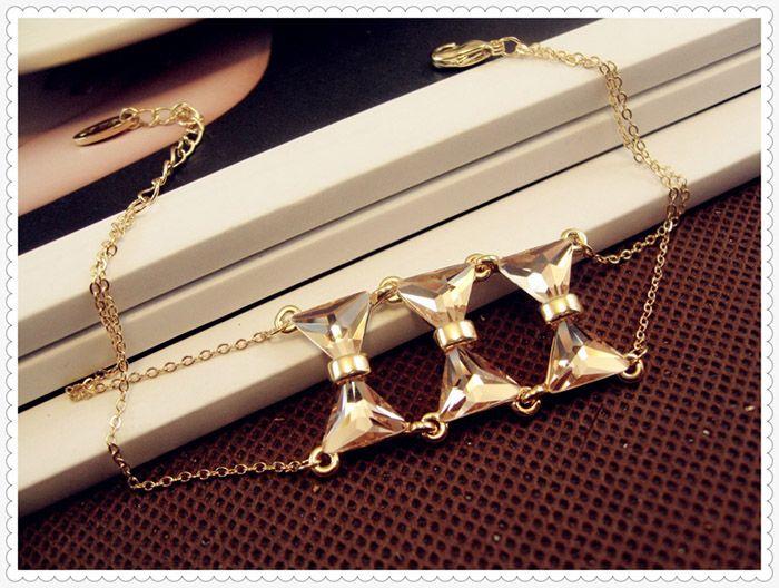 Alloy Faux Crystal Bowknot Bracelet