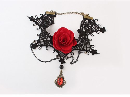 Chic Style Faux Gem & Tassels & Flower Design Lace Necklace For Women