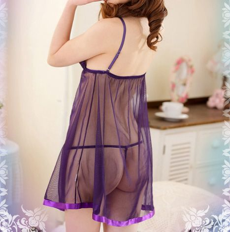 Sweet Style Lace-Up Lace Splicing Bare-Breasted Satin See-Through Women's Pajamas