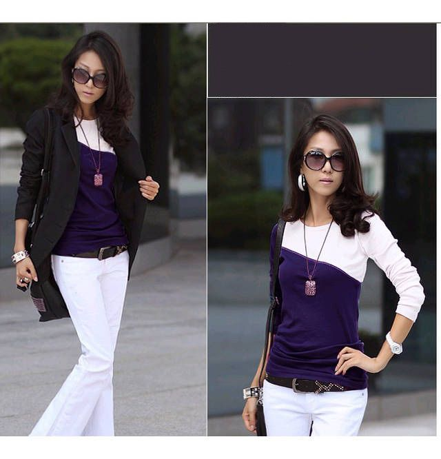 Korean Style Chic Round Neckline Diagonal Colormatching Long Sleeves Lycra Under Shirt For Women