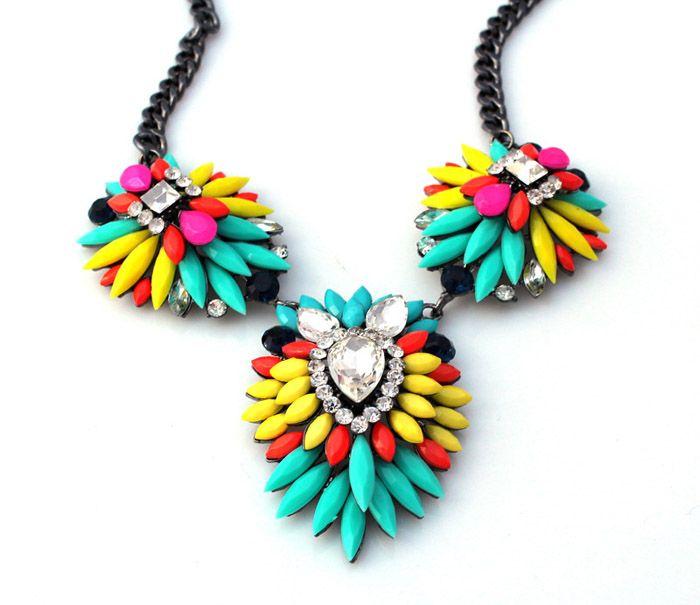 Fashion Iridescent Color Faux Gemstone Embellished Pendant Necklace For Women