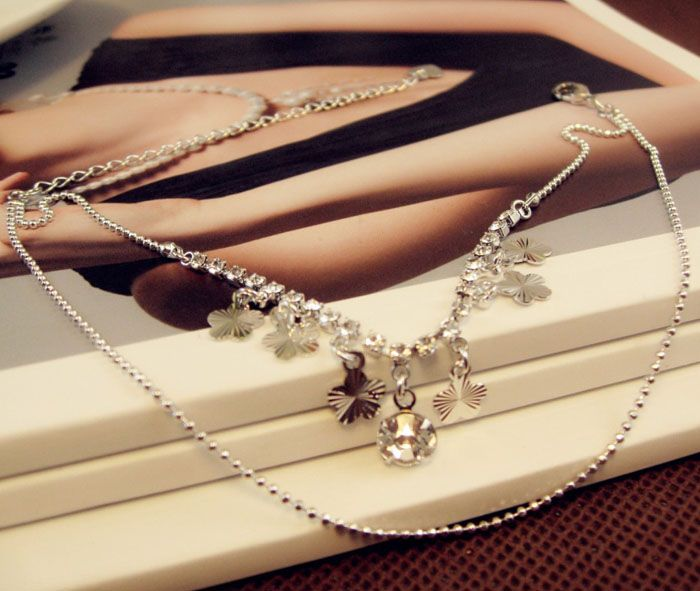 Fashion Wintersweet Flower Pendant Diamante Multi-Layered Alloy Anklet For Women