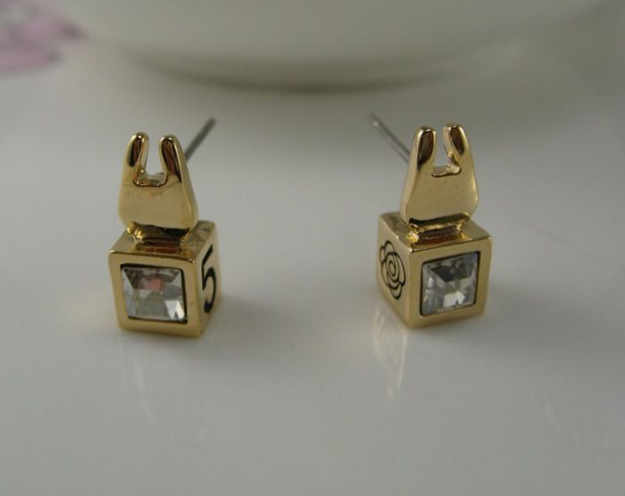 Pair of Bunny Head Embellished Faux Crystal Stud Earrings
